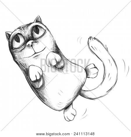 Cute cartoon cat kitten wants to cuddle or play and shows off its belly