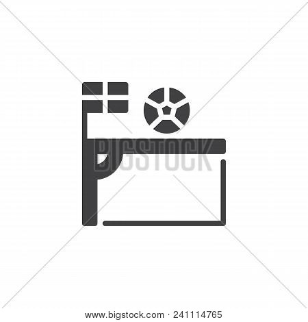 Soccer Corner Kick With Flag And Ball Vector Icon. Filled Flat Sign For Mobile Concept And Web Desig