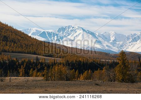 Snowy peaks in Chuya ridge Altai mountains, Russia.