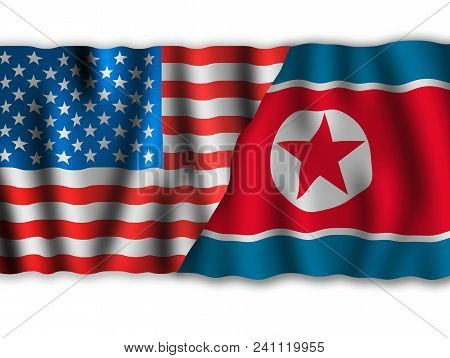 Usa And North Korea. Waving Flags Of The United States Of America And North Korea Together On White