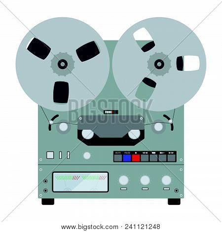 Reel Tape Recorder Icon. Flat Color Design. Vector Illustration.