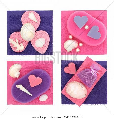 Spa and bathroom cleansing accessories with sponges, soap, face cloths, ex foliating scrub and bath crystals with seashells and pearls on white background. Top view.