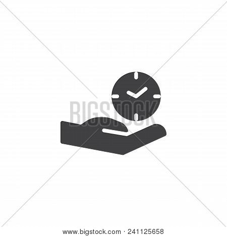Hand And Clock Vector Icon. Filled Flat Sign For Mobile Concept And Web Design. Time Care Simple Sol