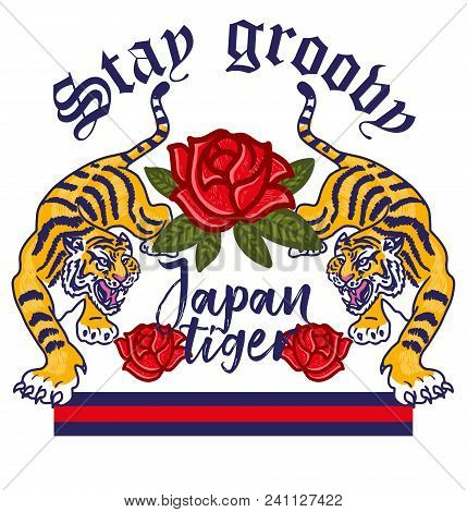 Embroidery Angry Wild Tigers With Decorative Pink Flowers Japan Tokyo Concept And Lettering