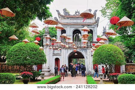 Hanoi, Vietnam - February 24, 2016: Courtyard Of Temple Of Literature In Hanoi, Vietnam