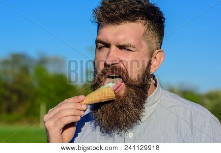 Sweet Tooth Concept. Bearded Man With Ice Cream Cone. Man With Long Beard Licks Ice Cream. Man With