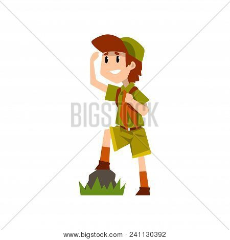 Boy Scout Character In Uniform Observing Something From A Distance, Outdoor Adventures And Survival