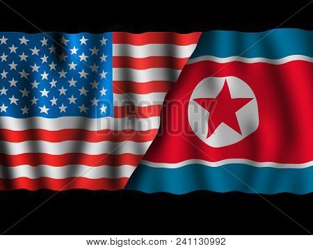 Usa And North Korea. Waving Flags Of The United States Of America And North Korea Together On Dramat