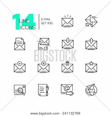Email - Set Of Line Design Style Icons Isolated On White Background. Minimalistic Pictograms. Main O