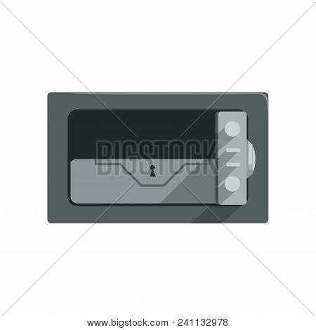 Safe Steel Closed Box, Safety Business Box Cash Secure Protection Concept Vector Illustration Isolat