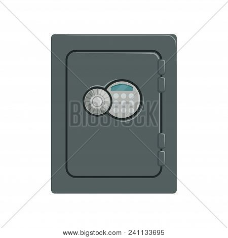 Steel Safe Box, Safety Business Box Cash Secure Protection Concept Vector Illustration Isolated On A