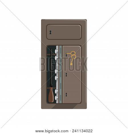 Safe Deposit Metal Box, Safety Business Box Cash Secure Protection Concept Vector Illustration Isola