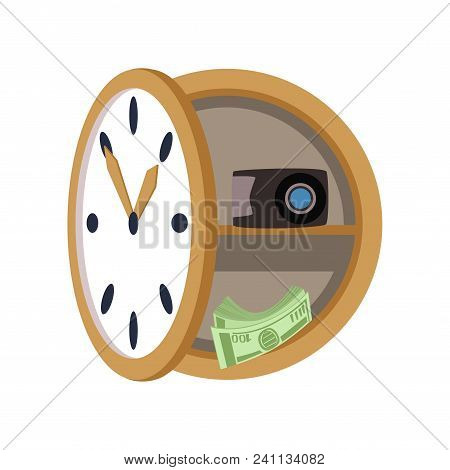 Secret Safe In The Form Of A Wall Clock, Safety Business Box, Values Secure Protection Concept Vecto