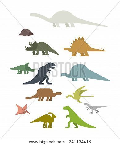 Dinosaur Set. Ancient Animal. Diplodocus And Stegosaurus, Pterosaur. Ankylosaurus And Triceratops. S