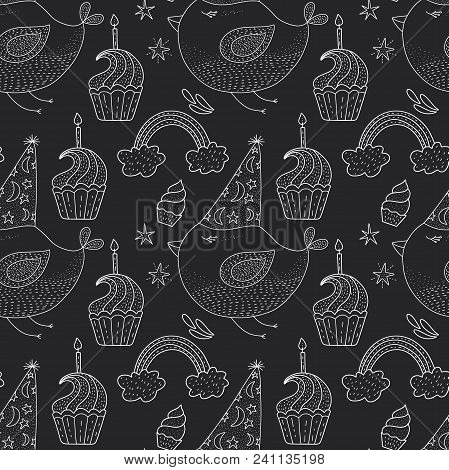 Birthday Vector Seamless Pattern With Cheerful Cute Bird. Cute Outline Illustration.