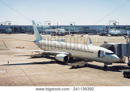 Airplane At New York City International Airport, Usa