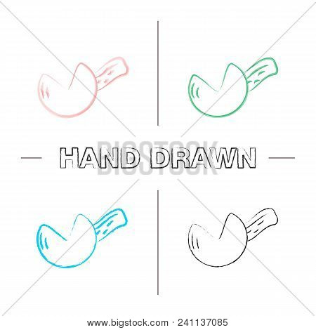 Fortune Cookie Hand Drawn Icons Set. Color Brush Stroke. Cookie Prediction. Isolated Vector Sketchy