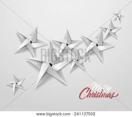 Origami Christmas Star Pattern For Holiday Poster Design. Silver Paper Shiny Xmas Decoration Object