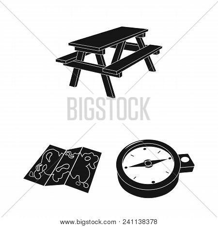 Rest In The Camping Black Icons In Set Collection For Design. Camping And Equipment Vector Symbol St