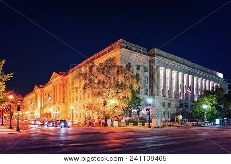 Internal Revenue Service Building In Washington D.c., Usa. It Is The Headquarters For The Internal R