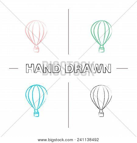 Hot Air Balloon Hand Drawn Icons Set. Color Brush Stroke. Aerostat. Isolated Vector Sketchy Illustra