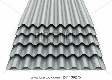 Stack or group of stacked metal steel zinc-plated or galvanized wave shaped profile sheets for roof and roofing construction industry isolated on white background poster