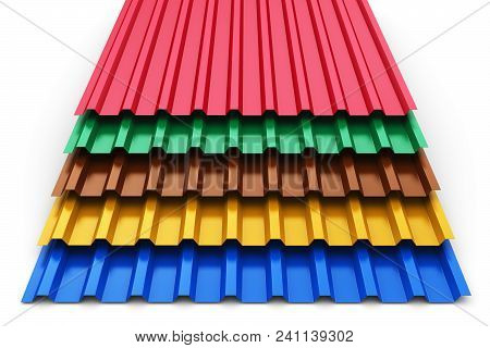 Stack Or Group Of Stacked Color Metal Steel Profile Sheets For Roof And Roofing Construction Industr