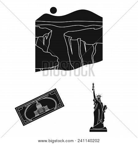 Usa Country Black Icons In Set Collection For Design.travel And Attractions Vector Symbol Stock  Ill
