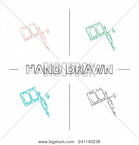 Tattoo Machine Hand Drawn Icons Set. Color Brush Stroke. Tattoo Gun. Isolated Vector Sketchy Illustr