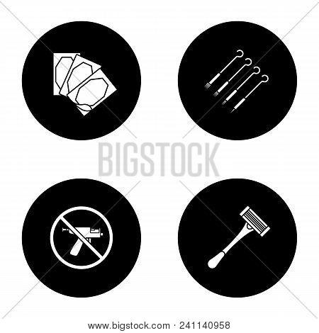 Tattoo Studio Glyph Icons Set. Piercing Service. Medical Plaster, Tattoo Needles, Piercing Gun Prohi