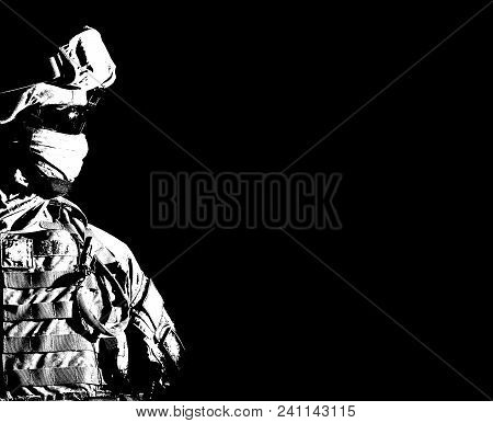 Close Up Portrait Of Modern Infantry Soldier, Active Army Fighter, Military Mercenary In Helmet, Fac