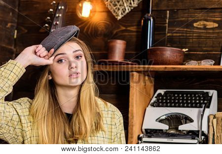 Girl In Casual Outfit With Kepi In Wooden Vintage Interior. Girl Tomboy Spend Time In House Of Gamek