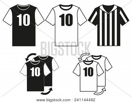 Black And White Soccer Uniform T-shirt Set. Player And Referee Uniform. Sport Theme Vector Illustrat