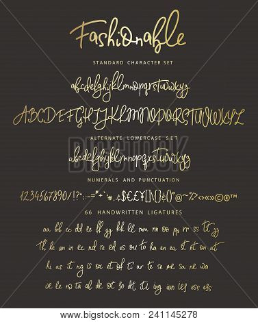 Handrawn Vector Alphabet. Letter For Script Font. Modern Gold Calligraphy. Marker Painted Abc With L