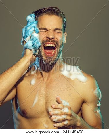 Muscular Attractive Bearded Man Taking Shower. Portrait Of Handsome Sexy Man With Naked Upper Body T