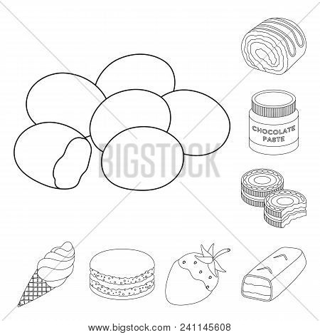 Chocolate Dessert Outline Icons In Set Collection For Design. Chocolate And Sweets Vector Symbol Sto