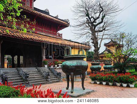 Hue, Vietnam - February 19, 2016: Urn At Emperial City Kinh Thanh In Hue, Vietnam