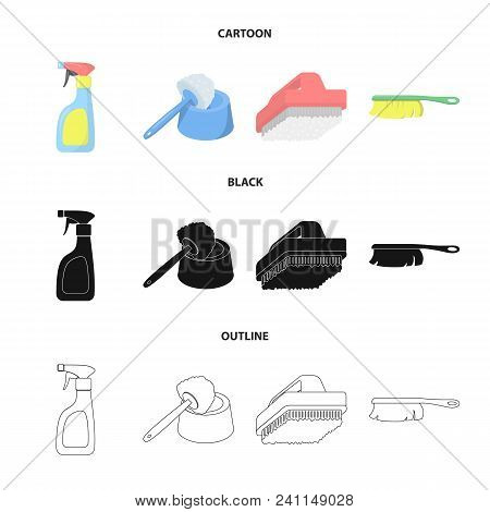 Cleaning And Maid Cartoon, Black, Outline Icons In Set Collection For Design. Equipment For Cleaning