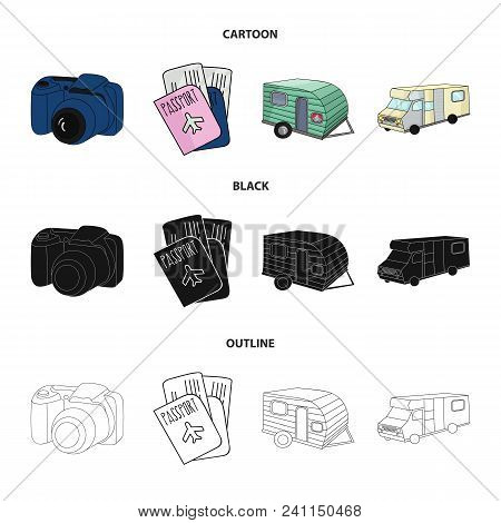 Vacation, Photo, Camera, Passport .family Holiday Set Collection Icons In Cartoon, Black, Outline St