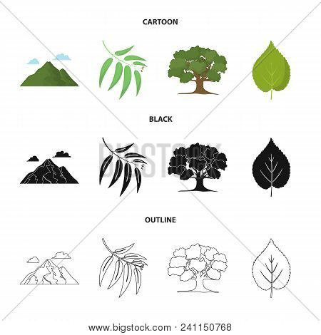 Mountain, Cloud, Tree, Branch, Leaf.forest Set Collection Icons In Cartoon, Black, Outline Style Vec