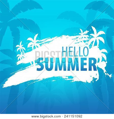 Summer Tropical Background With Palms And Sunset. Summer Placard Poster Flyer Invitation Card. Summe