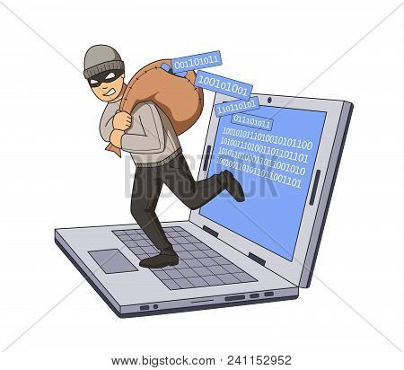 Masked Burglar Jumping Out Of Notebook With Bag Full Of Code On His Shoulder. Gigital Theft. Flat Ve