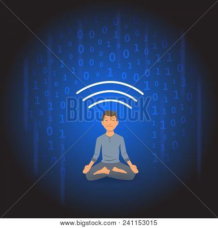 Digital Detox And Meditation. Meditating Man Protecting Himself From Shower Of Information. Flat Vec