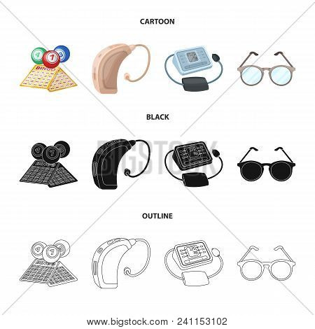 Lottery, Hearing Aid, Tonometer, Glasses.old Age Set Collection Icons In Cartoon, Black, Outline Sty