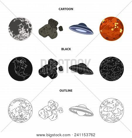 Moon, Venus Of The Planet Of The Solar System. Nil, A Meteorite. Planets Set Collection Icons In Car