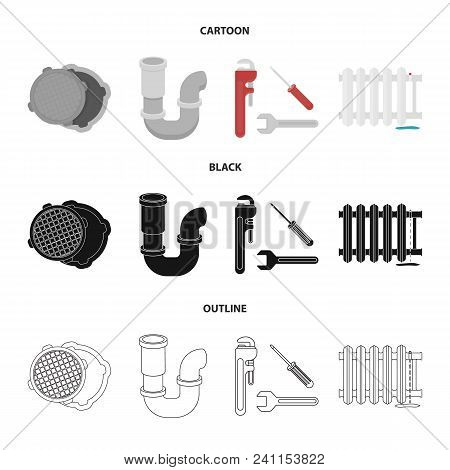 Sewage Hatch, Tool, Radiator.plumbing Set Collection Icons In Cartoon, Black, Outline Style Vector S