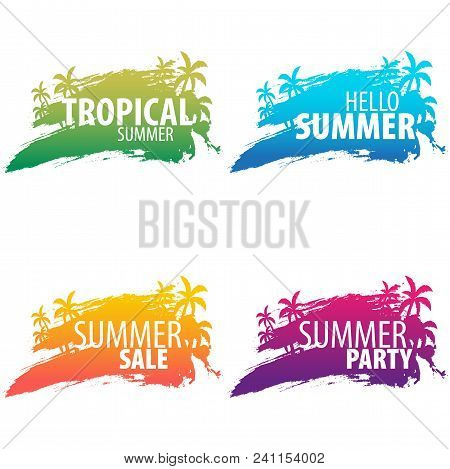 Summer Tropical Backgrounds Set With Palms And Sunset. Summer Placard Poster Flyer Invitation Card.