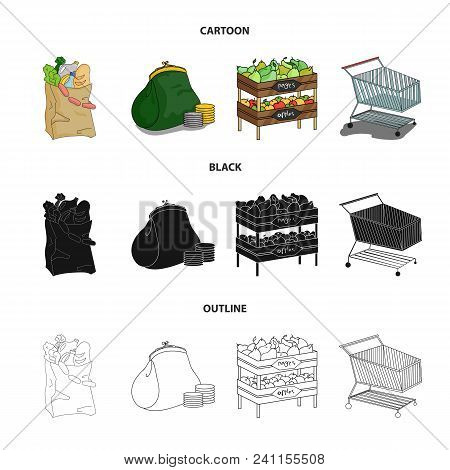 Sausages, Fruit, Cart .supermarket Set Collection Icons In Cartoon, Black, Outline Style Vector Symb