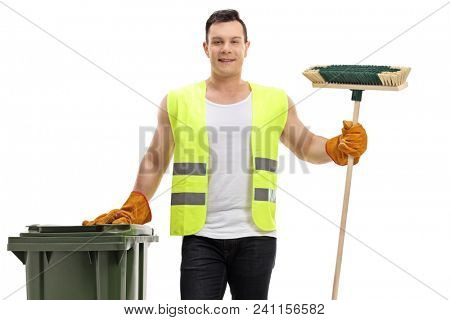 Waste collector holding a garbage bin and a broom isolated on white background poster