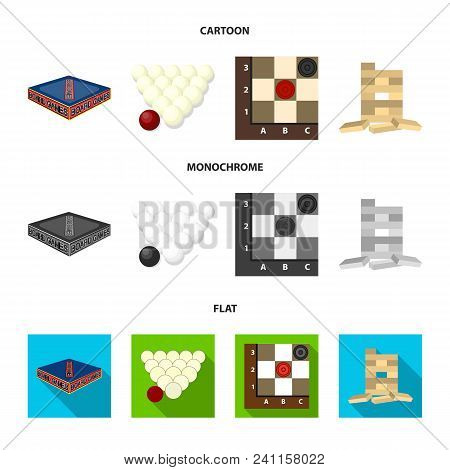 Board Game Cartoon, Flat, Monochrome Icons In Set Collection For Design. Game And Entertainment Vect